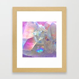 Rainbow Angel Aura Crystal Framed Art Print