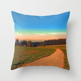 Hiking into the sunset | landscape photography Throw Pillow
