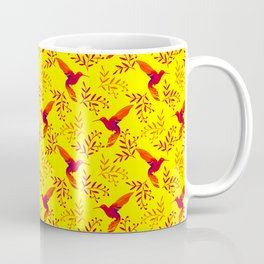 Pretty beautiful cute red hummingbirds, delicate twigs with little leaves yellow pattern. Gift ideas Coffee Mug