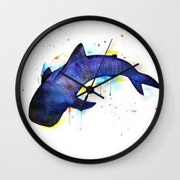 Whale shark, watercolour Wall Clock