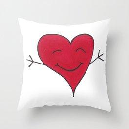 Happy Red Heart Hug Cartoon Throw Pillow