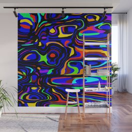 Juicy flowing spots of neon colors with blue. Wall Mural