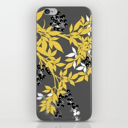TREE BRANCHES YELLOW GRAY  AND BLACK LEAVES AND BERRIES iPhone Skin