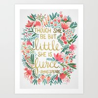 writing Art Prints featuring Little & Fierce by Cat Coquillette
