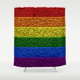 Gay Pride Chrome Flag Shower Curtain