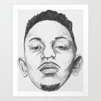 kendrick lamar Art Prints featuring Kendrick Lamar by Omar Guzman