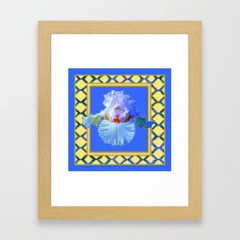 BLUISH-WHITE PASTEL IRIS FLOWER BOTANICAL ART Framed Art Print