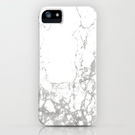 Gray white abstract modern marble pattern iPhone Case