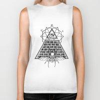 pyramid Biker Tanks featuring Pyramid by alesaenzart