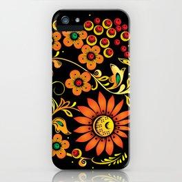 Black floral khokhloma iPhone Case