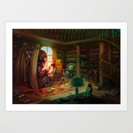 library tea party Art Print