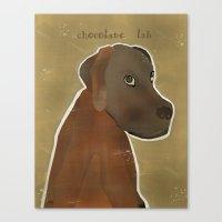 lab Canvas Prints featuring chocolate lab by bri.buckley