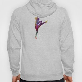 Woman boxer boxing kickboxing silhouette isolated 01 Hoody