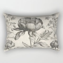 Antique floral black and white chinoiserie flower vintage Paris flowers French botanical goth print Rectangular Pillow