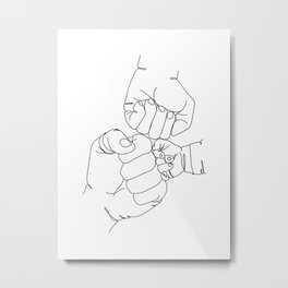 Family Hands One Line Drawing Metal Print