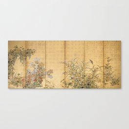 Japanese Edo Period Six-Panel Gold Leaf Screen - Spring and Autumn Flowers Leinwanddruck