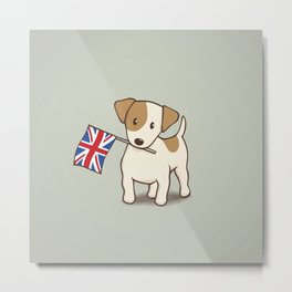 Jack Russell Terrier and Union Jack Illustration Metal Print