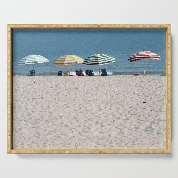 Bald Head Island Beach Umbrellas   Bald Head Island, North Carolina Serving Tray