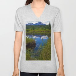Pyramid Mountain in Jasper National Park, Canada Unisex V-Neck