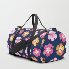 CANDY COLORED HIBISCUS on NAVY Duffle Bag
