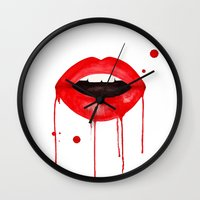 lips Wall Clocks featuring lips by KASAMONART