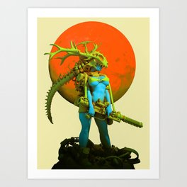 Red moon hunter Art Print