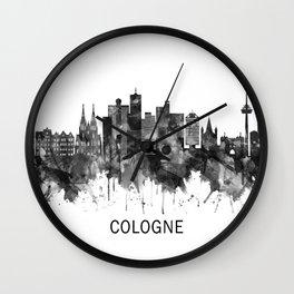 Cologne Germany Skyline BW Wall Clock