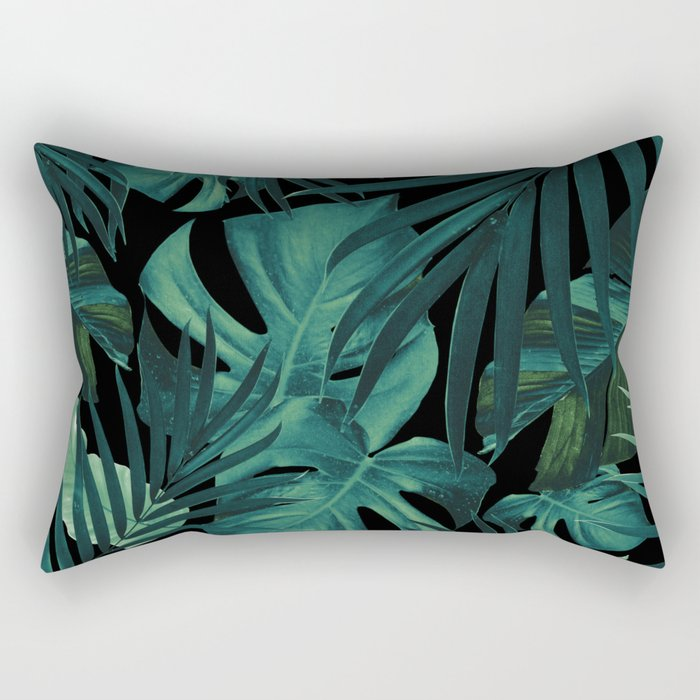 Tropical Jungle Night Leaves Pattern #1 #tropical #decor #art #society6 Rectangular Pillow