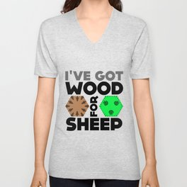 Wood for Sheep (Catan series) Unisex V-Neck