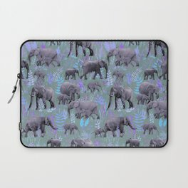 Sweet Elephants in Purple and Grey Laptop Sleeve