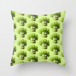 Green Funny Cartoon Broccoli Throw Pillow