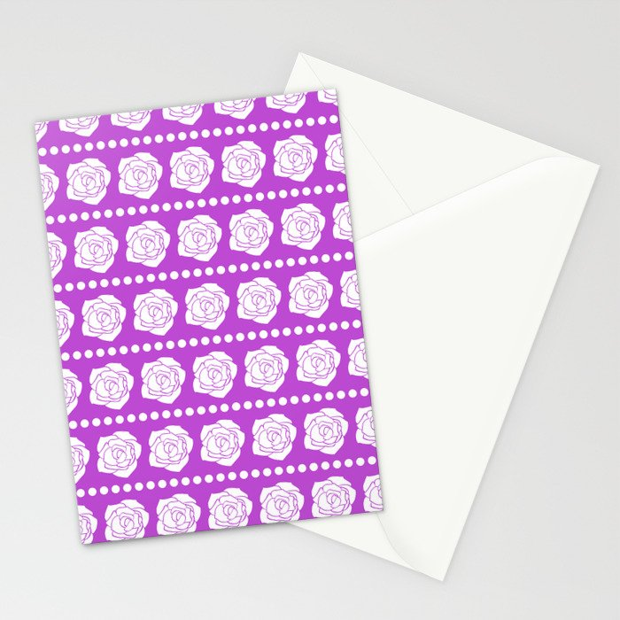 Simple White Roses - Purple BG Stationery Cards