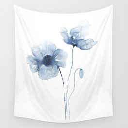 Blue Watercolor Poppies Wall Tapestry