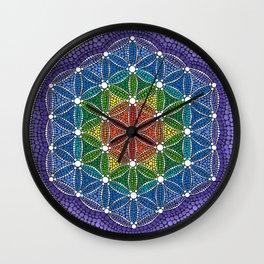 Rainbow Happy Flower of Life Wall Clock