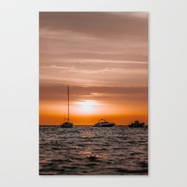 Ibiza Sunrise | Boat | Travel photography | Fine Art Canvas Print