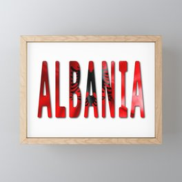 Albania Word With Flag Texture Framed Mini Art Print