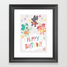Happy Birthday Party Animals Framed Art Print