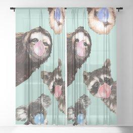 Cute Animals Bubble Gum Gang in Green Sheer Curtain