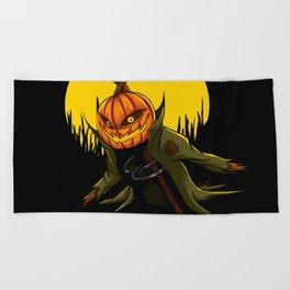 Pumpkin scarecrow Beach Towel