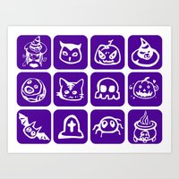 Cute Purple Halloween Art Print