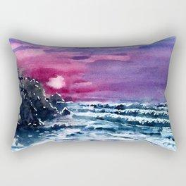 Bali Bingin beach, purple sunset, watercolor landscape picture, summer art Rectangular Pillow