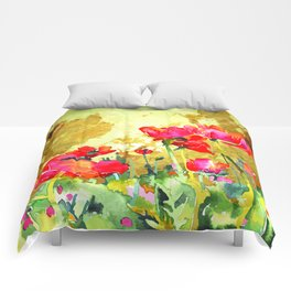 red blossom Comforters