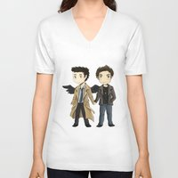 destiel V-neck T-shirts featuring Destiel  by agartaart