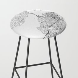 Auckland White Map Bar Stool