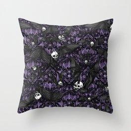 Skelebats - Royal Purple Throw Pillow