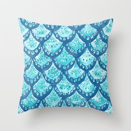 MERMAID SPARKLE Fish Scales Scallop Watercolor Throw Pillow