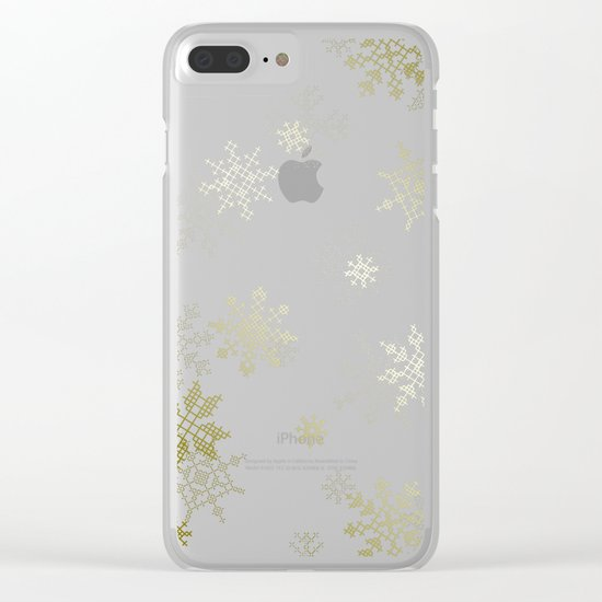 Gold Snowflakes Clear iPhone Case