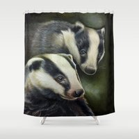 badger Shower Curtains featuring Badger by Claudia Hahn