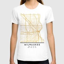 MILWAUKEE WISCONSIN CITY STREET MAP ART T-shirt