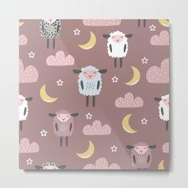 Sweet sleeping sheep pattern pastel light pink Metal Print